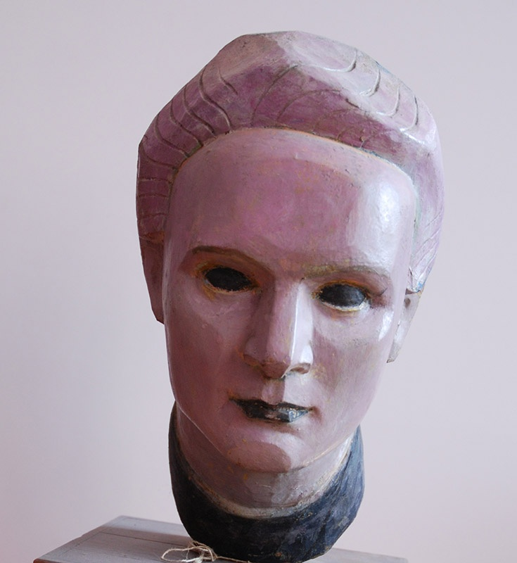 xawery dunikowski, maria skłodowska-curie (z II cyklu: głowy wawelskie), 1955, drewno polichromowane