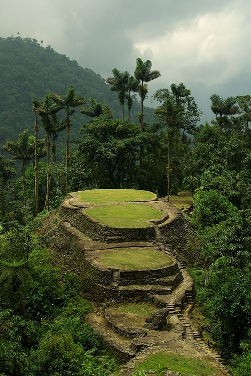 "The pre-Columbian archaeological site of Ciudad Perdida (Spanish for ""Lost City""), located in Sierra Nevada, Colombia, thought to be founded about 800 AD."