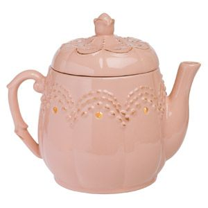 It's teatime! This dusty pink teapot is topped with a delicate rosebud and an embossed, scalloped pattern. To purchase, go to www.jenni.scentsy.com.au