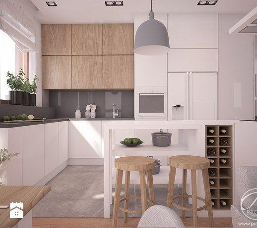 Apartamenty Marymont - Duża otwarta kuchnia w kształcie litery l z wyspą z oknem, styl nowoczesny - zdjęcie od Progetti Architektura