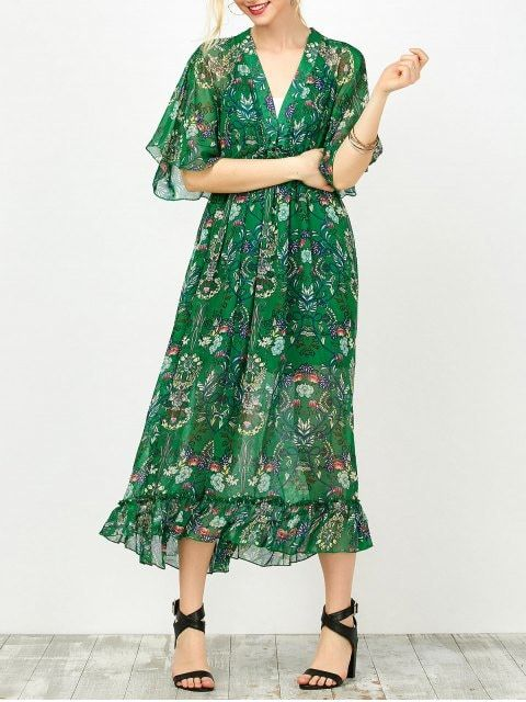 Maxi Floral Printed Empire Waist Dress With Tube Top - GREEN M