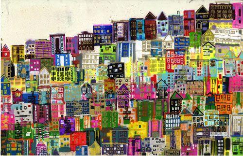 little houses on the hillside by jennifer maravillas