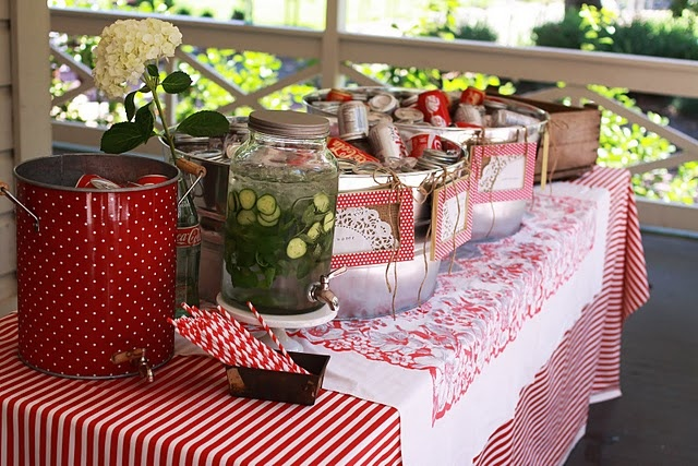 Red gingham - but not stereotypical red gingham.  Red gingham with a twist.: Red, Party'S, Wedding Ideas, Anniversary Party, Bridal Shower Ideas, Parties, Gifts Party Ideas, Summer Bridal Showers, Polkadotdesign Bridalshower