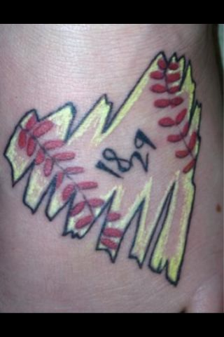 softball tattoo! but I'd have my number 10 in the middle instead those.