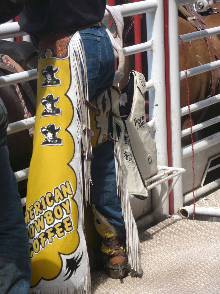Cowboy's protective chaps, seen before his ride at the Calgary Stampede. More Stampede info at http://Calgary.FoundLocally.com/entertainment/fest-stampede.htm