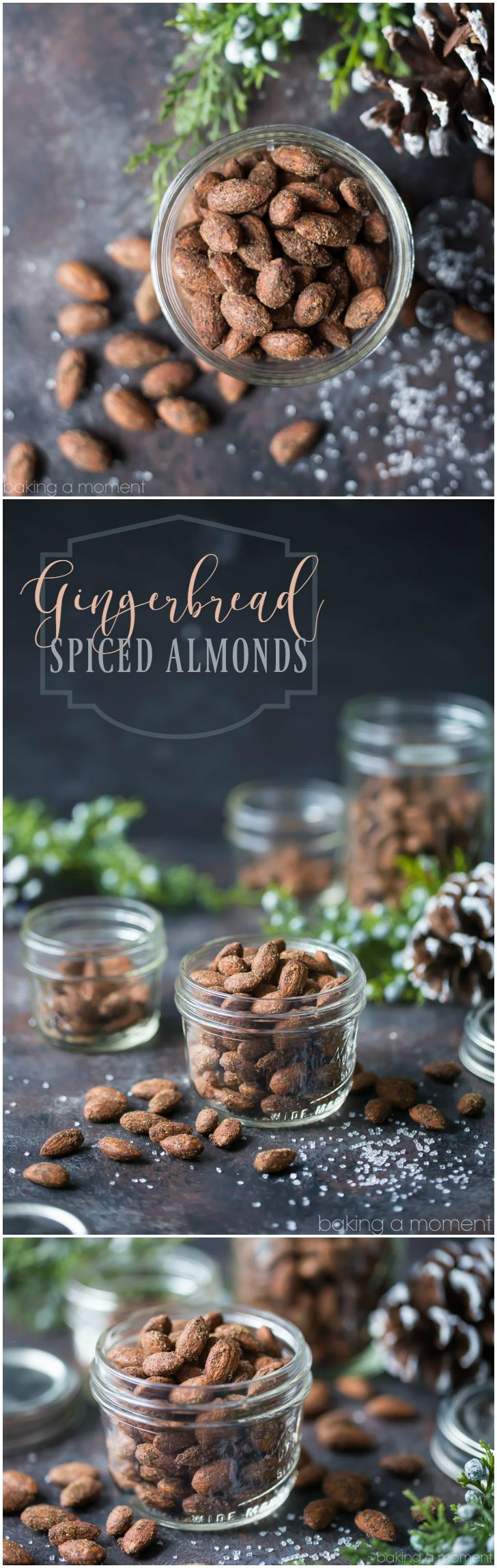 Gingerbread Spiced Almonds: these made a perfect last-minute holiday gift! Whipped up a big batch in just a few minutes, baked them off, and put them into pretty jars tied with ribbon. Tasted just like a gingerbread cookie!