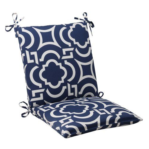 Pillow Perfect Indoor Outdoor Carmody Squared Chair Cushion Navy Pillow Perf