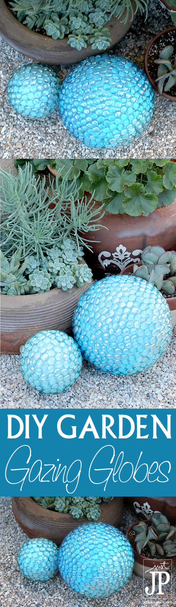 A gazing ball the kids won't break! This tutorial is so easy to follow and these are CHEAP!!! Make this DIY FAUX Gazing Ball for your garden for under $20 for TWO. Can get all the supplies at dollar store - click the post to see what you need and watch vi