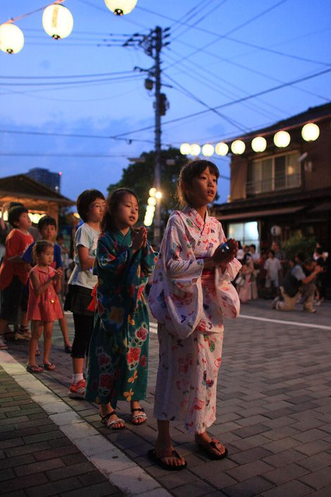盆踊り-bon odori, in Tsukuda Island, Tokyo, Japan. 東京都中央区佃島、盆踊り ☆Bon odori is a traditional custom of dance offered to our ancestors as a memorial service during the Bon season in Japan. The main part is Aug 13th ~16th.