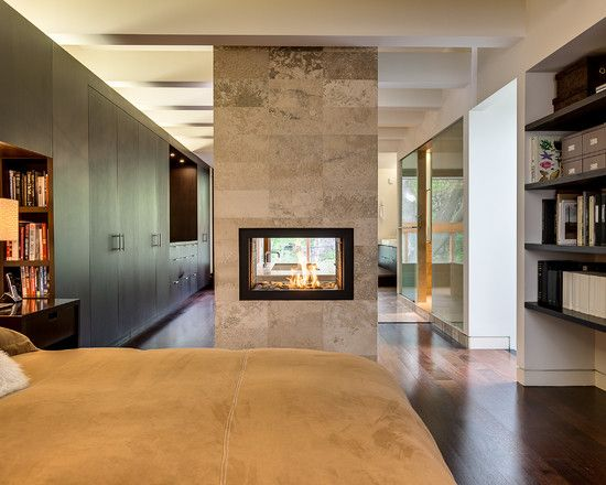 Gorgeous See Through Fireplace Designs As Unusual Room Divider : Adorable See Through Fireplace Designs Combined With Light Brown Bed Cover And Glossy Floor