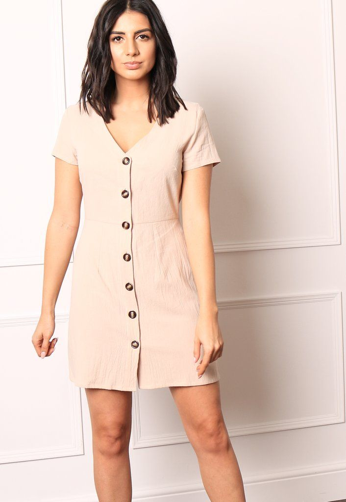 832ef81668ae2 Linen Horn Button Up V Neck Fit & Flare Skater Dress in Sand – One Nation  Clothing
