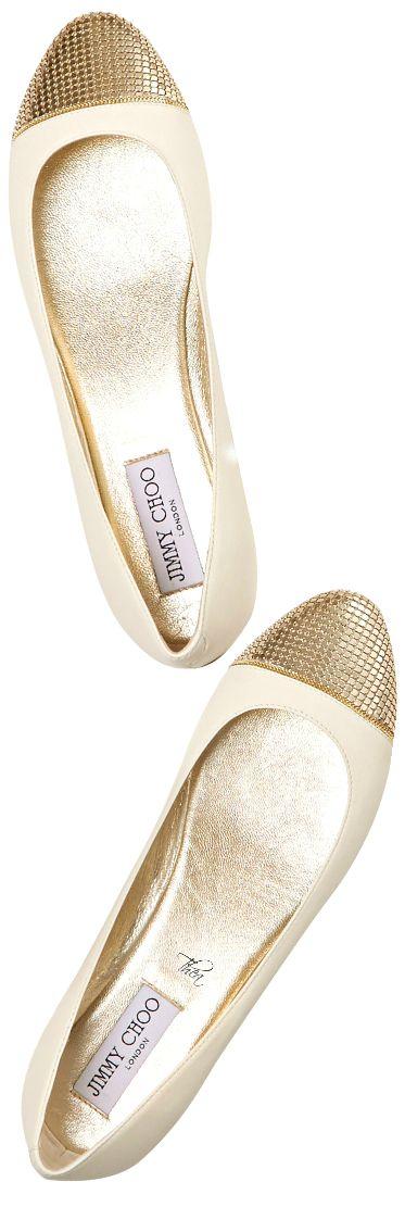 Jimmy Choo ~ Ballerina Flats Ivory w Gold Toe Accent 2015