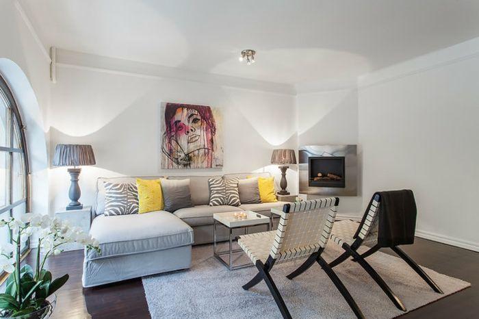Wohnzimmer Wandgestaltung Ideen –Deko für weiße Wand ...