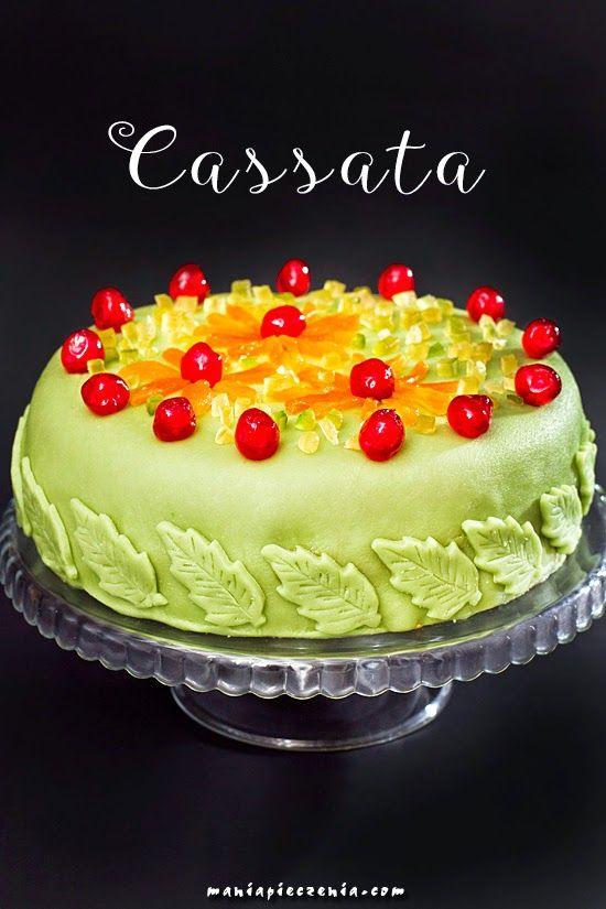 cassata, cassata siciliana, cassata alla siciliana, włoski tort, ser ricotta, ricotta, tort z ricottą, sycylia, włochy, italia, włoskie wypieki, marzepan, marcepan,