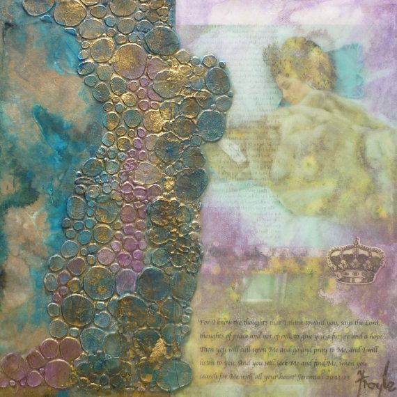 'Dreaming of You' mixed media collage, 30 x 30cm $195. From my 'Love Letters' series.  A series of paintings created as love letters from the Father to His beloved daughter. Inspiration - (Jer 29:11-14)