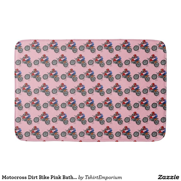 Motocross Dirt Bike Pink Bath Mat