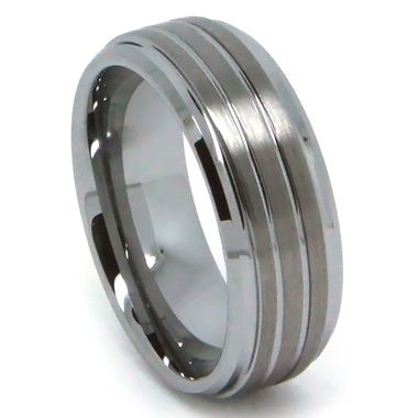 8MM Men Tungsten Ring Flat Top With Triple Brush Lines High Polish Bevel Edge