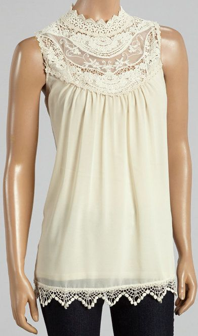 Natural Sheer Lace Sleeveless Top
