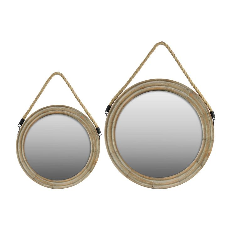 urban trends collection wood round mirror with rope hanger set of two natural finish brown 21. Black Bedroom Furniture Sets. Home Design Ideas