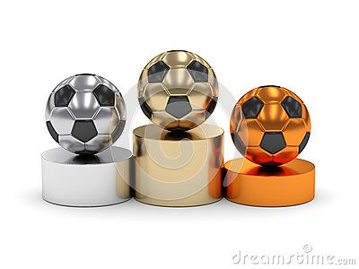 3d rendered podium with soccer balls  on white background
