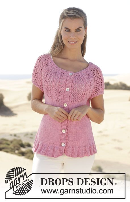 Knitting Pattern For Short Sleeved Jacket : Knitted DROPS jacket with short sleeves, round yoke and lace pattern in ?Pari...