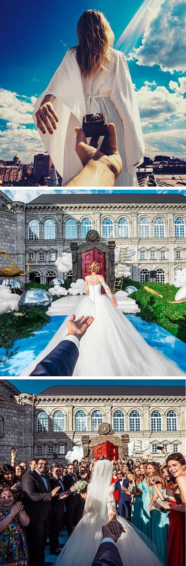 "Russian photographer Murad Osmann and his longtime girlfriend Natalia Zakharova documented their wedding in the style of their famous ""Follow Me"" series."
