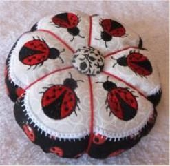 pin cushion ith - machine embroidery design - lady bug pin cushion in the hoop