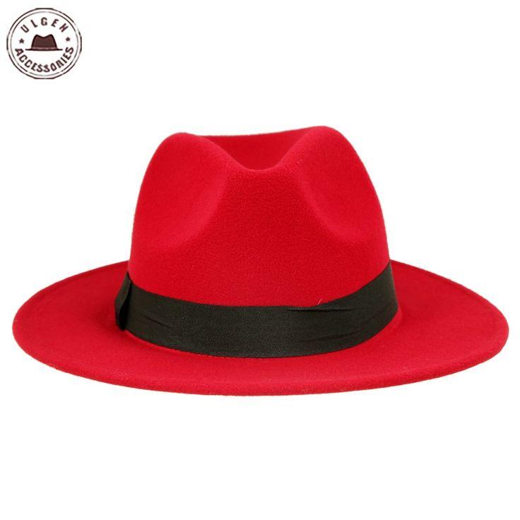 Vintage unisex wool Jazz hats large brim felt cloche cowboy panama fedora hat for women black red trilby derby fedoras [HUB048]
