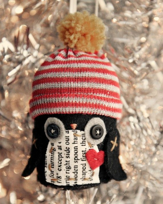 Penguin Ornament by skunkboycreatures on Etsy