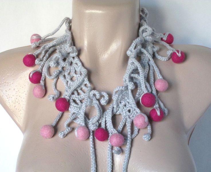 Fiber Art Jewelry Freeform Crochet Fiber Necklace Crochet neckpiece Crochet Collar Felted Beads Elegant Necklace by AgathaBee…