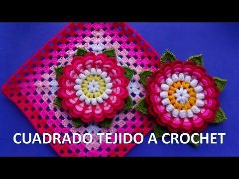 Cuadrado tejido a ganchillo con flor dalia paso a paso para colchas y cojines - YouTube
