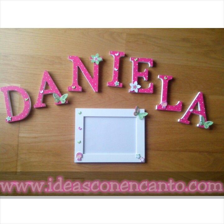 Conjunto de Letras y marco. Daniela
