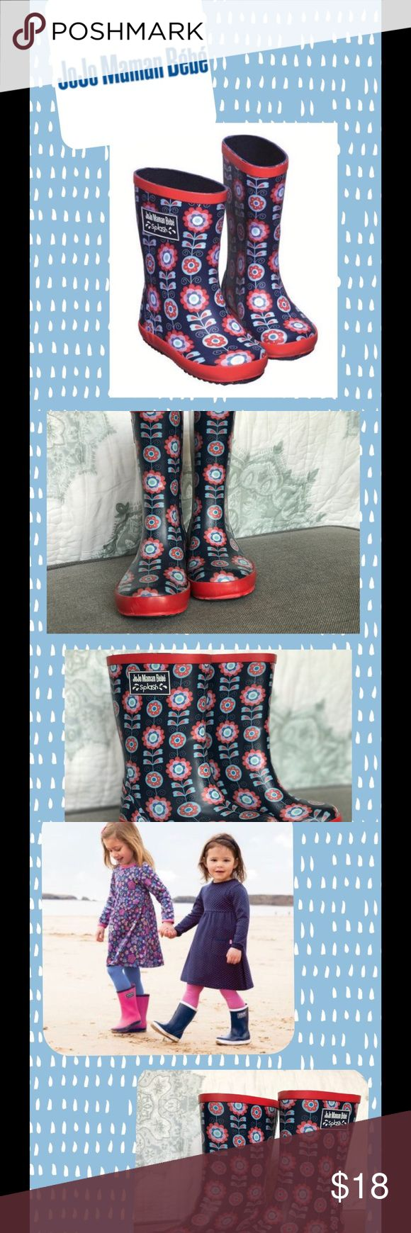 Jojo Maman bébé Rain Boots Super cute navy floral boots by Jojo Maman Bébé. Made with soft cotton and anti-sweat lining. They go with any outfit and keep little toes dry. They have ridged soles for good grip. They have some scuff marks around the toe area but it barely noticeable. Outer: 100% rubber. Sole: 100% rubber. No trades please. Jojo Maman Bébé Shoes Rain & Snow Boots