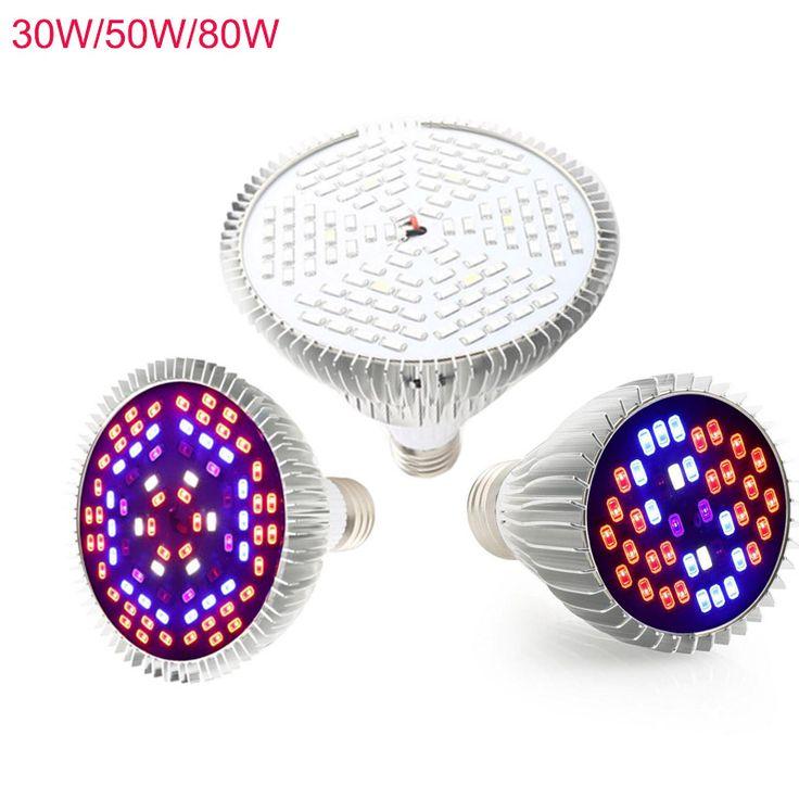 30 w/50 w/80 w lámpara e27 ac85-265v 5730smd led crece la luz de espectro completo para plantas y cultivos hidropónicos crecer/bloom encendiendo el envío libre