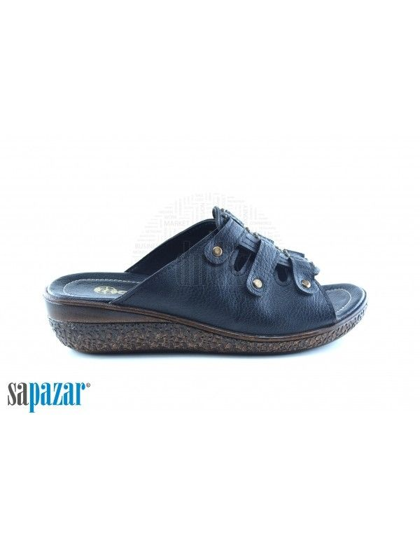 Gezer 8655 Bayan Zenne Kutulu Terlik Siyah Terlik Sandalet Siyah