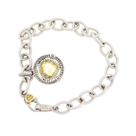 "LOWEST PRICE !Judith Ripka JR TWO 925/18k bracelet Judith Ripka 925 sterling silver / 18k gold Yellow Quartz bracelet.  No original packaging  no damage ships immediately. Measures 7.5"" Judith Ripka  Jewelry Bracelets"