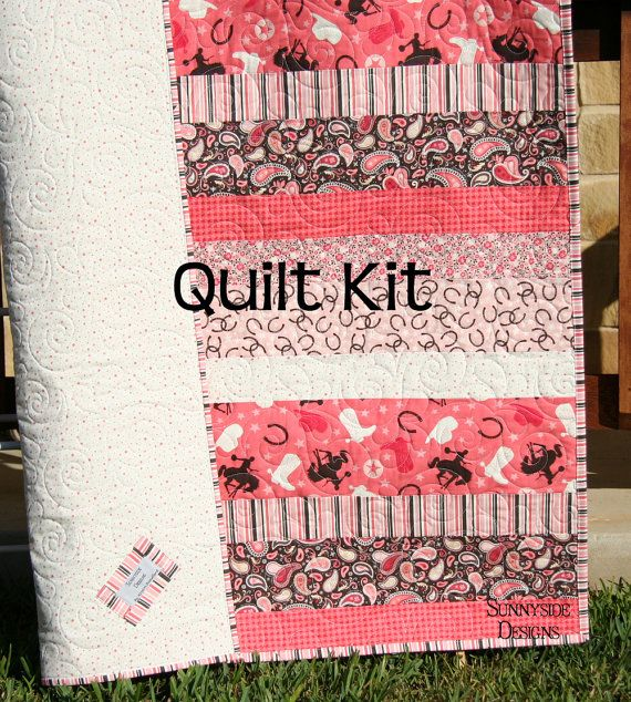 Quilt Kit, Roundup by Samantha Walker for Riley Blake Fabrics, Western Cowboy Cowgirl Blanket, Horse Baby Toddler Girl, DIY Pink Brown Simple Quick Easy Beginner Pattern Simply Striped by SunnysideFabrics