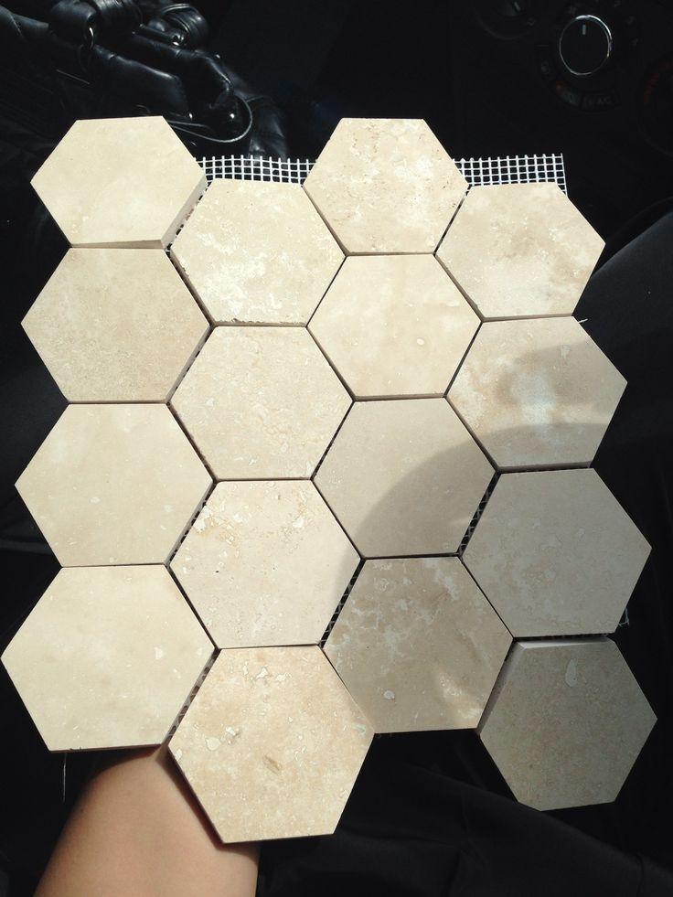 Honed & filled Alhambra hexagonal mosaics