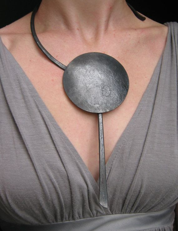 RESERVED Dramatic Asymmetric Pendant Necklace by dragonflyforge