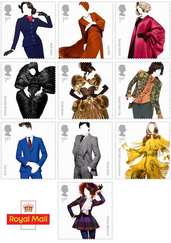 From Vivienne Westwood and Alexander McQueen to bespoke suits in stamp form by Royal Mail