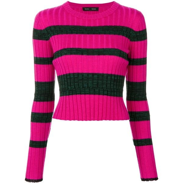 Proenza Schouler Stripe Cropped Jumper (645 AUD) ❤ liked on Polyvore featuring tops, sweaters, clothing /, kirna zabete, woolen sweater, striped sweater, round neck sweater, pink cropped sweater and pink jumper