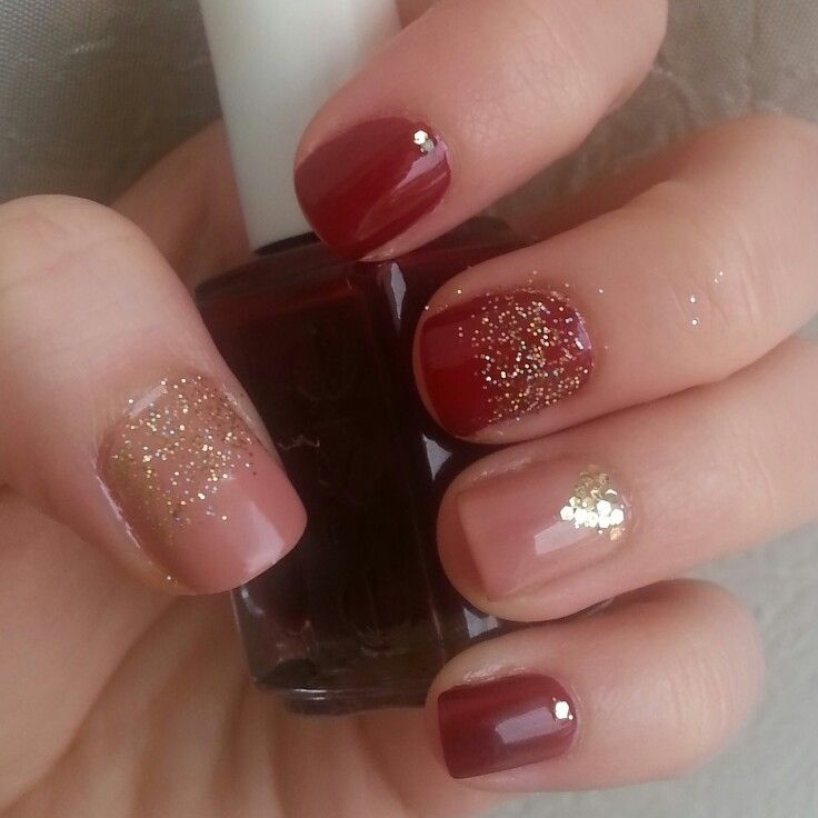 Valentine's day nails!! #nails #nailart #nailaddict #nude #bordaux #gold #glitter #red