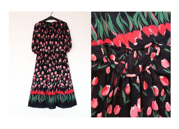 1940s Japanese Vintage Black Chiffon Dress Pink Tulip Flowers Floral Wedding Sun Summer Day Work Dress Excellent Condition by PimradaVintage on Etsy https://www.etsy.com/uk/listing/490543524/1940s-japanese-vintage-black-chiffon