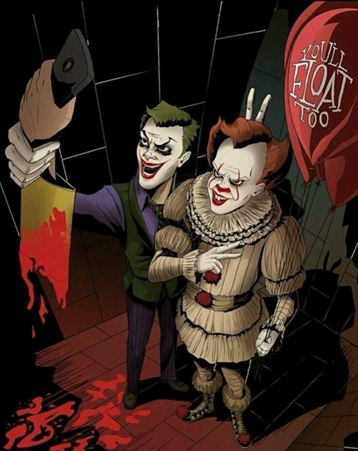 Pennywise And The Joker Taking A Photo With Gerogie's Ripped Off Arm