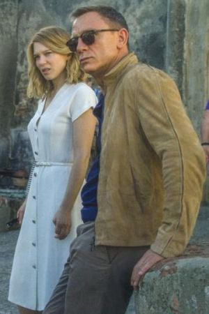 Daniel Craig wearing Matchless Craig Blouson Suede Jacket and Tom Ford Pique Polo Shirt
