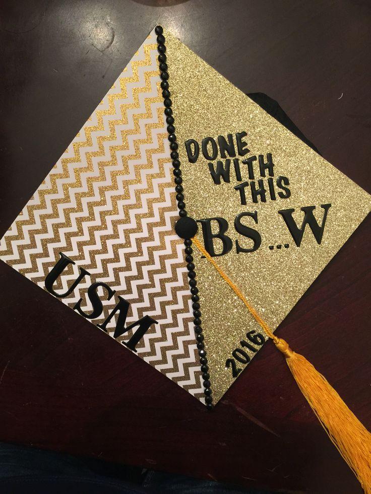 Bachelors of graduation cap of social work.