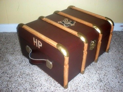 This lady made a Harry Potter trunk for all of her sewing equipment. Her bits and pieces are stored in novelty packaging from Weasley and Weasley's. It is unbelievably detailed and awesome!