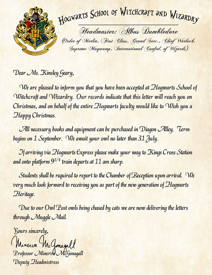 Hogwarts Personalized Harry Potter Acceptance Letter with