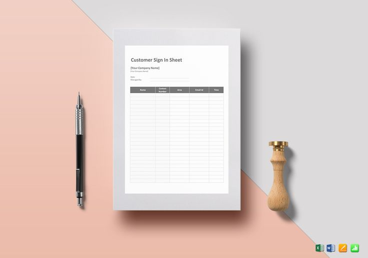 Customer Sign in Sheet Template  $12  Formats Included : MS Excel, MS Word, Numbers, Pages File Size : 8.27x11.69 Inchs, 8.5x11 Inches #CustomerSigninSheet #Documents #Documentdesigns #Sheetdesigns #Sheettemplates