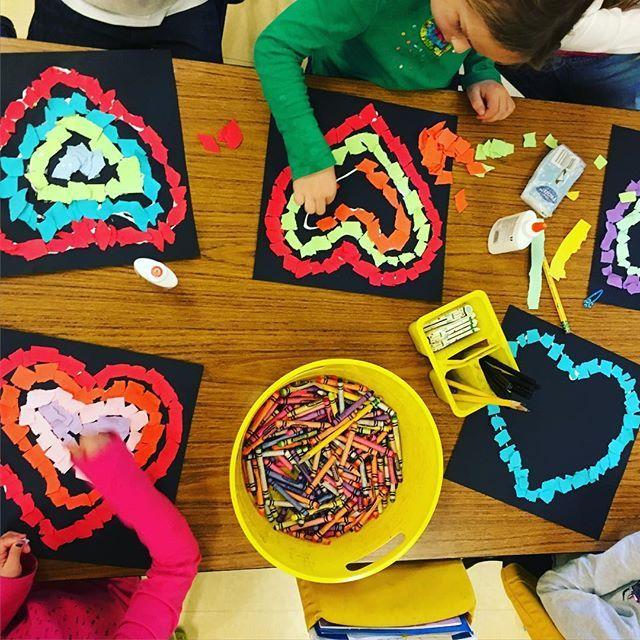 Feel the love...and the glue. #valentinecraft #stickyfingers #lotsofglue #mosaicart #iteachK #aplacecalledkindergarten